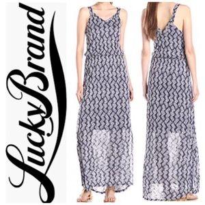 🍀LUCKY BRAND Navy Printed Maxi Dress Sz XL